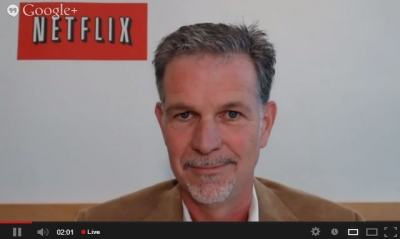 CEO Reed Hastings during a Netflix webcast with analysts and investors