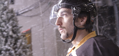Boston Bruins forward Patrice Bergeron appears in a spot for the 2010 NHL Winter Classic to be held at Fenway Park in Boston.