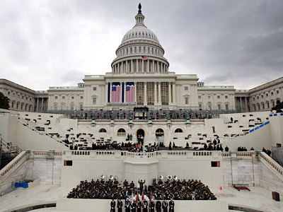 The West Front of the Capitol during a rehearsal for President-elect Barack Obama's inauguration ceremony.