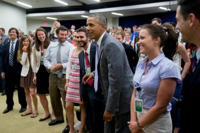 President Obama arrives to watch the the U.S.A. v. Belgium World Cup game with staff members.