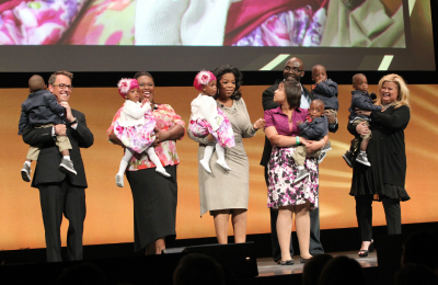 Oprah Winfrey at the Discovery Communications upfront with the stars of OWN's new 'Six Little McGhees'