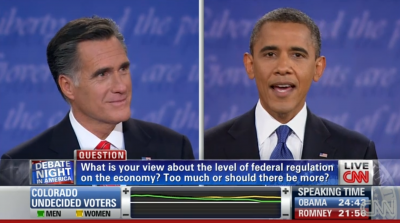 Mitt Romney and Barack Obama in Denver on Wednesday during their first debate.