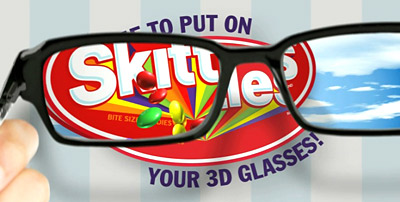 Screenvision and Skittles will premiere the first 3-D cinema ad, 'Skittles Transplant,' before showings of 'Battle for Terra.'