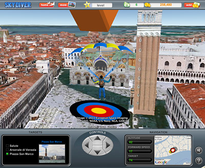In 'Travel Game' a player skydiving can be offered actual skydiving travel packages.