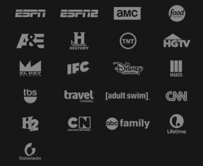Sling's basic lineup of channels -- for the 2 million people who can get them before a signup cap kicks in.
