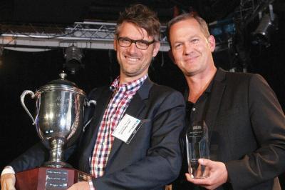 John Matejczyk and Matt Hofherr in triumph at the 2014 Small Agency Awards.