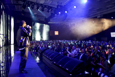 Snoop Lion performs at YouTube's NewFront event, which it calls 'Brandcast'