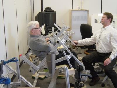 Stumpf, left, seated evaluating ergonomics in 2004