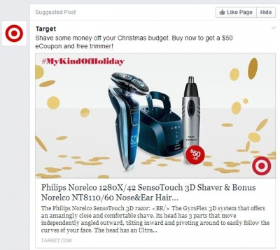 A Target ad on Facebook for a razor