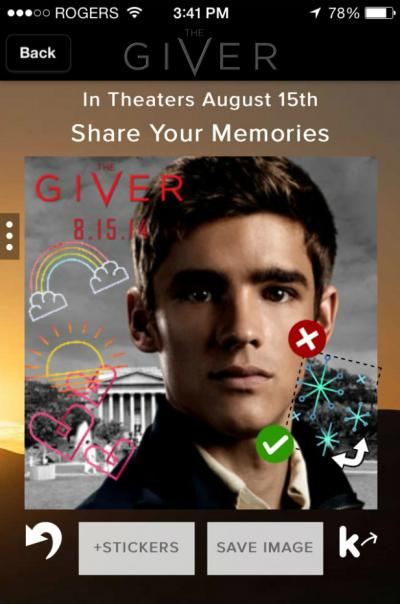 A 'card' on the messenger app Kik promoting the upcoming young adult movie 'The Giver.'