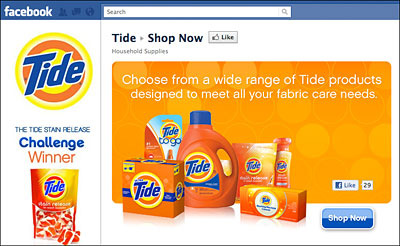 Tide's new 'Shop Now' page on Facebook