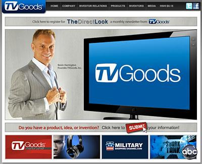 The TVGoods website with CEO Kevin Harrington.