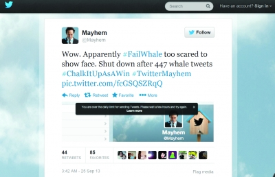 The new Mayhem Twitter account