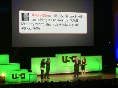 The stars of 'Psych' on stage at USA's upfront in a photo by network executive Jesse Redniss