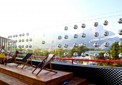 Official Bazucas on display from the VIP rooftop overlooking Rio.