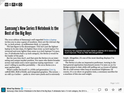 Wired will stop posting entire articles like this on Flipboard next month.