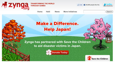 Proceeds from Zynga's effort will go directly to the Japan Earthquake Tsunami Children's Emergency Fund.