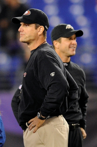 Sibling marketability: Jim (l.) and John Harbaugh could be a powerful pair.