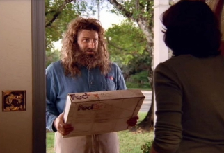 A scene from 'Desert Island,' a FedEx commercial spoofing Tom Hanks' 'Castaway' in the 2003 Super Bowl