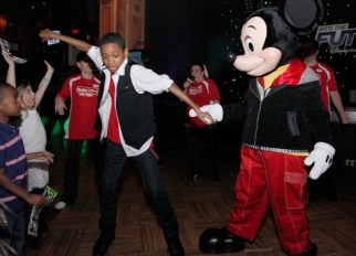 Dancing with Mickey at Disney Channel's upfront