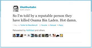 Keith Urbahn tweet on Osama bin Laden