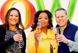 At the OWN launch toast in January: Christina Norman, Oprah Winfrey, David Zaslav, president and CEO, Discovery Communications