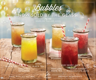 Caribou Coffee's product line now includes teas and juices for summer.