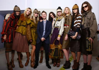 Pictures of the models backstage provided a sneak peek of Burberry's collection.