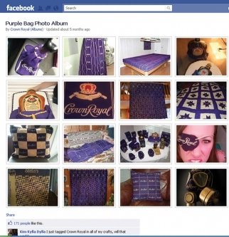 In the bag: Fans of Diageo's Crown Royal Facebook page showcase their love for the liquor's iconic purple-cloth bag.