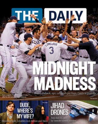 With heavy graphics and short stories, The Daily is more like USA Today or People magazine.