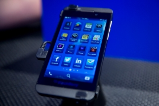 The new BlackBerry Z10 is displayed during the device's launch in New York Wednesday.