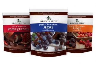 New marketing spending will support Hershey's line of Brookside-branded premium chocolate-covered fruit-juice pieces.