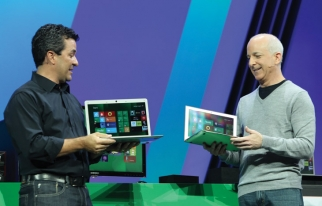 Steven Sinofsky, president of Windows and Windows Live, and Michael Angiulo, corporate vice president of Windows Planning, Hardware & PC Ecosystem, demo Windows 8 in September.