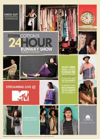 Ad for Cotton's 24-hour runway show.