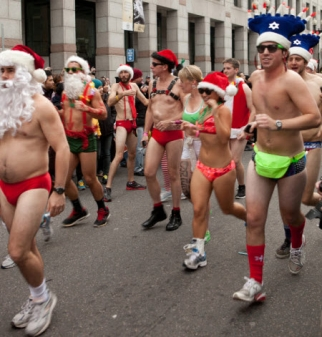 Sapient employees joined the 12th annual Boston Santa's Speedos Run for charity.