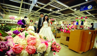 As a PR event, Ikea hosted a wedding for three couples in its Nanjing store.
