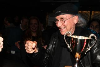 R/GA CEO Bob Greenberg celebrating the shop's Agency of the Year win at the 2015 Agency A-List party.