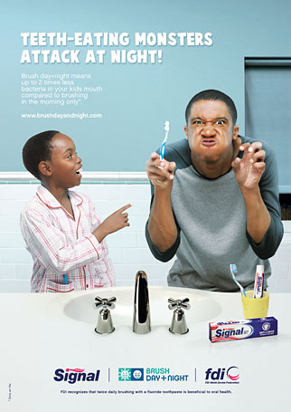 Taking the educational approach: Unilever campaign emphasizes the importance of regular tooth-brushing.
