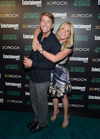 Jack McBrayer, who plays Kenneth Parcell, and Jane Krakowski, who plays Jenna Maroney, at the final season premiere party