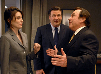 Tina Fey as Liz Lemon, Alec Baldwin as Jack Donaghy and Rip Torn as fictional G.E. boss Don Geiss on '30 Rock'