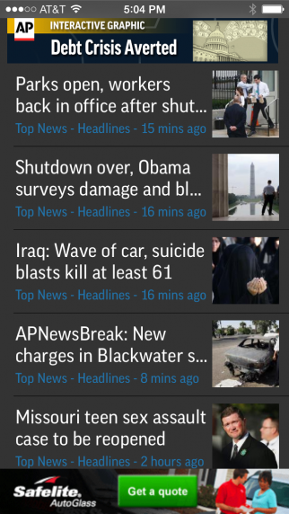 The AP plans to include sponsored posts among news headlines like these on its mobile app