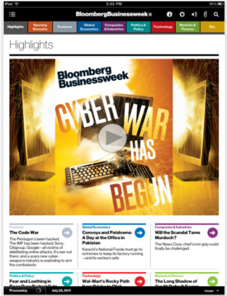 A screenshot from Bloomberg Businessweek's iPad app, one of the best of 2011, according to iMonitor