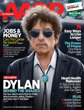 Bob Dylan on the cover of AARP The Magazine.
