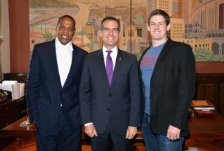 Jay Z, L.A. Mayor Eric Garcetti and Bud's Brian Perkins