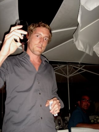 Smuggler EP Patrick Milling Smith toasts diners at Eden Roc with a broken glass