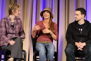'Mob Wives' star Drita D'Avanzo speaks with Kristin Frank, SVP-digital at MTV and VHI, and TV personality Jim Shearer during a panel on leveraging social media to connect talent, fans and brands at Ad Age's Social Engagement/Social TV Conference in New York.