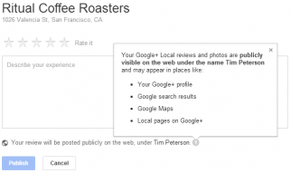 Google+ Local reviews are public by default