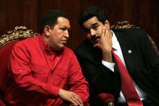 Hugo Chavez and Nicolas Maduro
