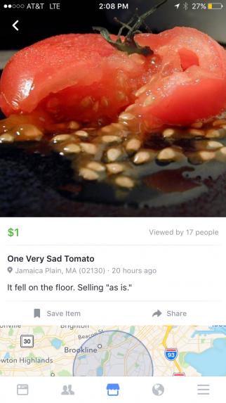 A sad tomato was on sale on Facebook Marketplace.