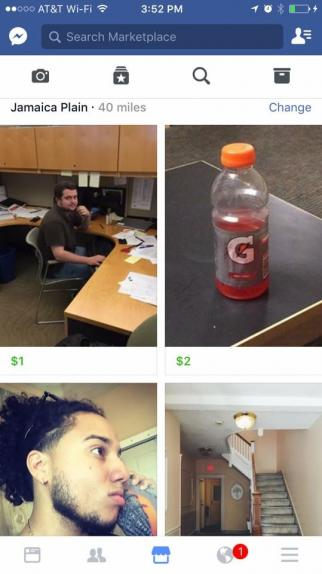 Facebook Marketplace ads included a person's co-workers, a half-consumed bottle of Gatorade, and more.